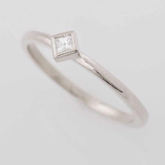 Square Diamond Ring 14K White Gold Princess Cut Diamond Ring