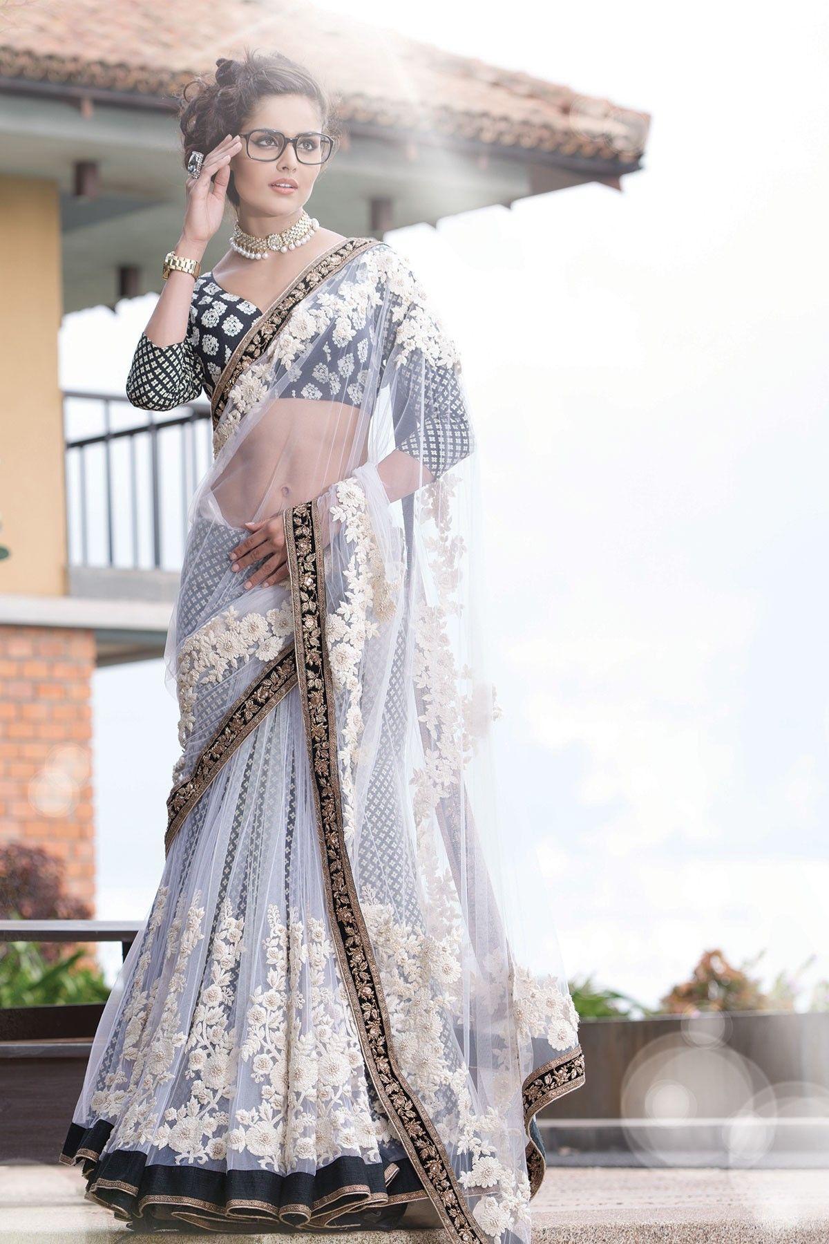 55aebd99e5 White Net Thread Work #Saree In Black & Gold Velvet Border ...