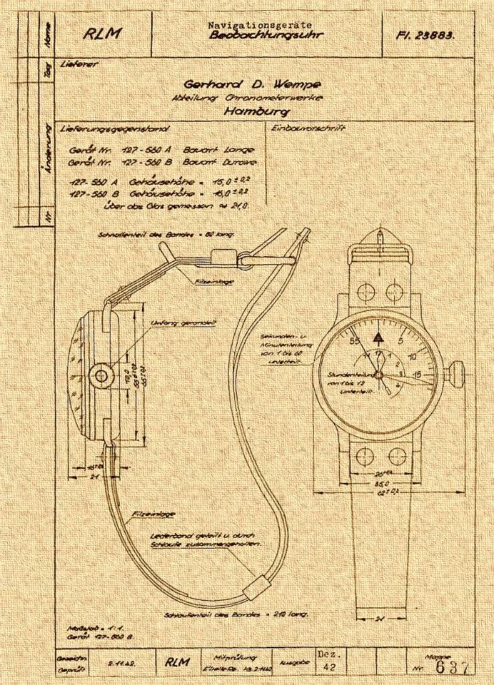 "Here is the 1942 original spec sheet for a ""Type B dial"" B-Uhr manufactured by Wempe Chronometerwerke, Hamburg. Note the inner 12 hour chapter ring on the dial, the large crown and thick crown tube."