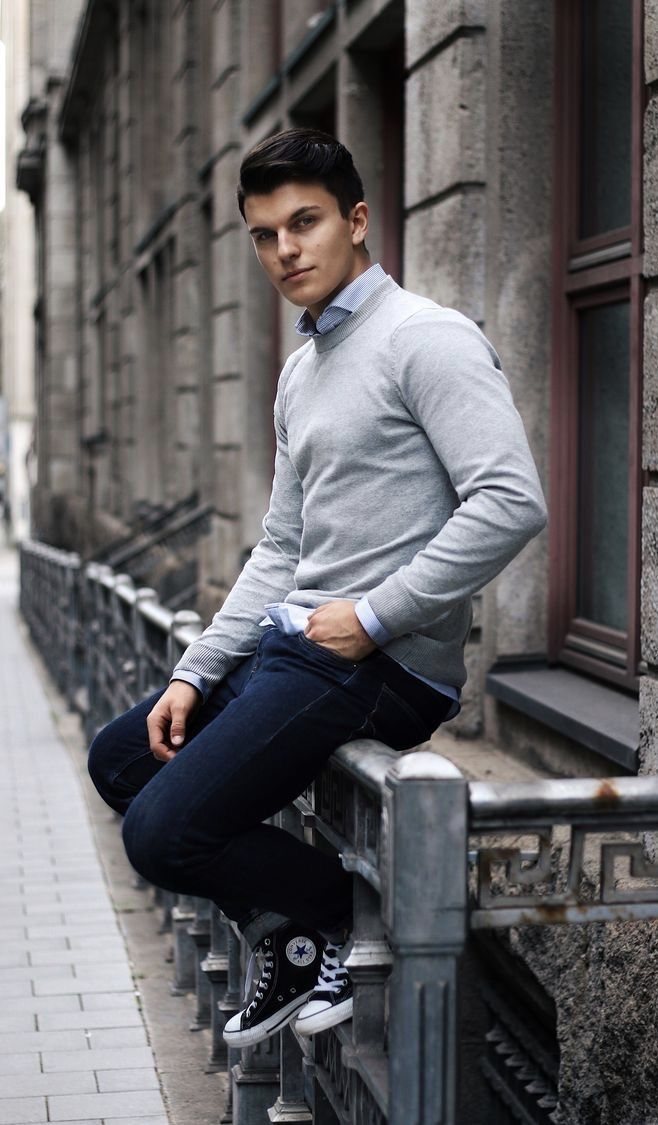 Business casual inspiration with a gray sweatshirt light
