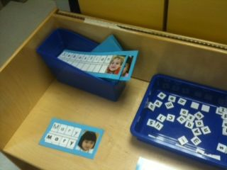 Literacy:  Name station.  Write each child's name and tape a picture to the card.  Have letter tiles for the children to practice spelling their friends names as well as their own :}