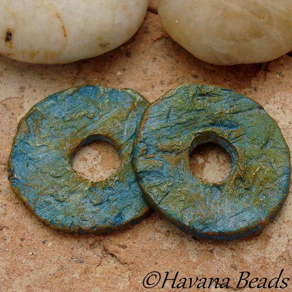 ORGANIC DISCS  2 Handmade Ceramic Disc Beads  1 by HavanaBeads