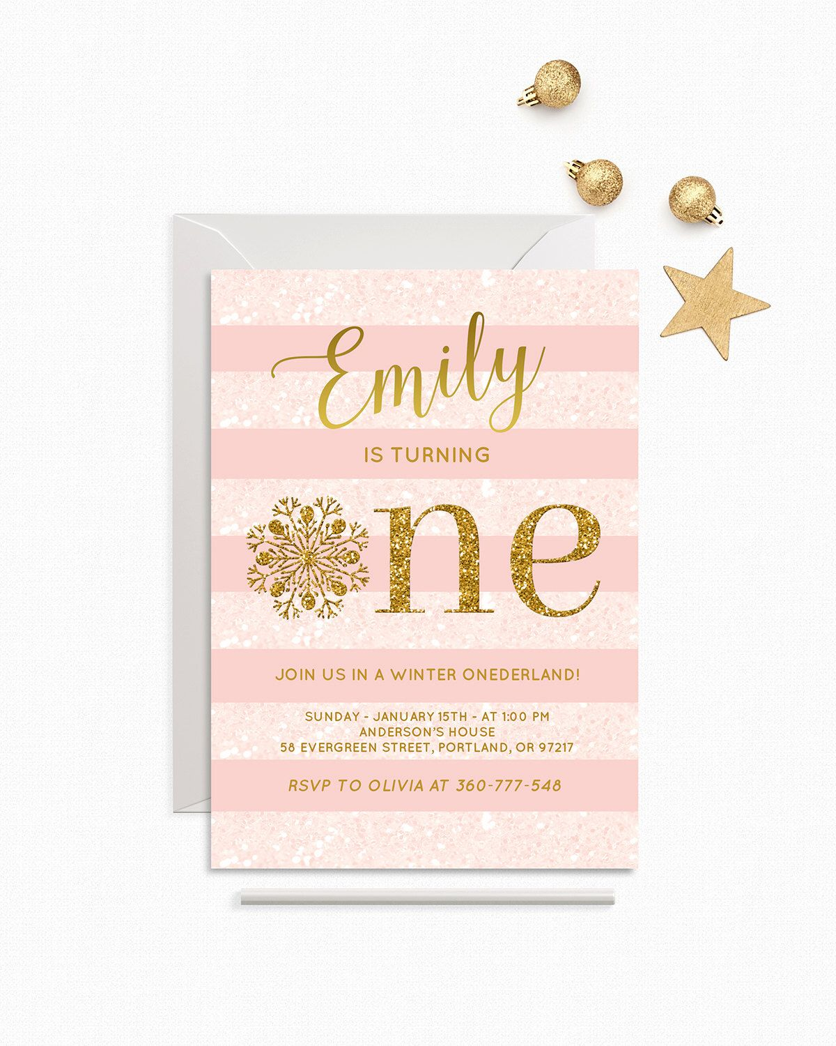 Winter Onederland Invitation Girl First Birthday Party Pink And Gold ...