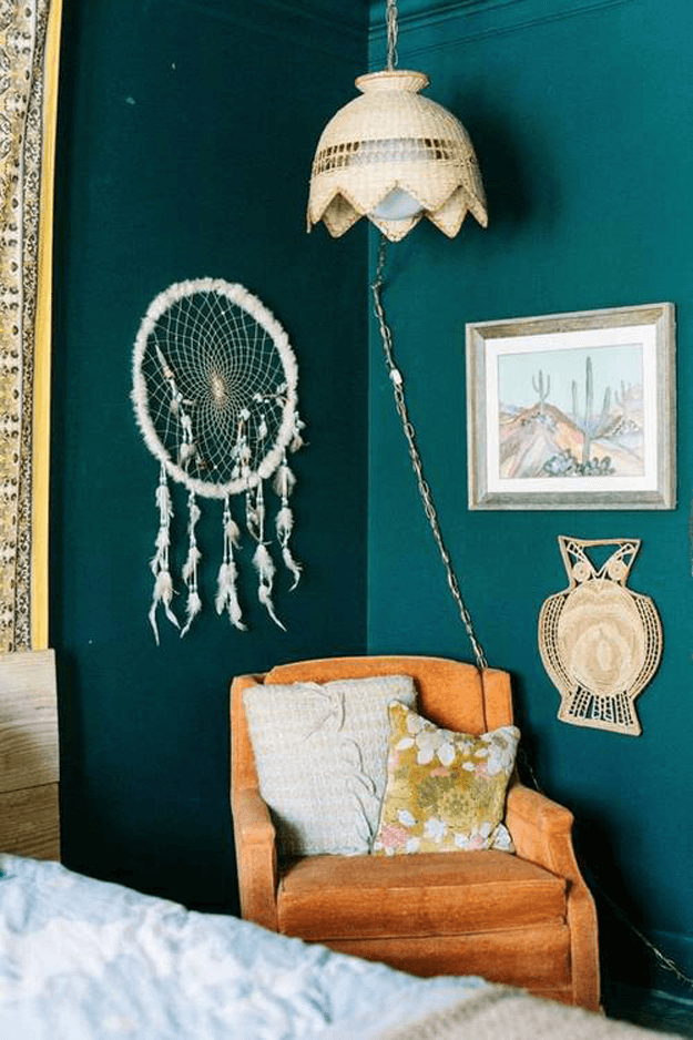 dark teal green room with burnt orange chair, curry orange, rust orange, sherwin williams cut the mustard, vintage interior