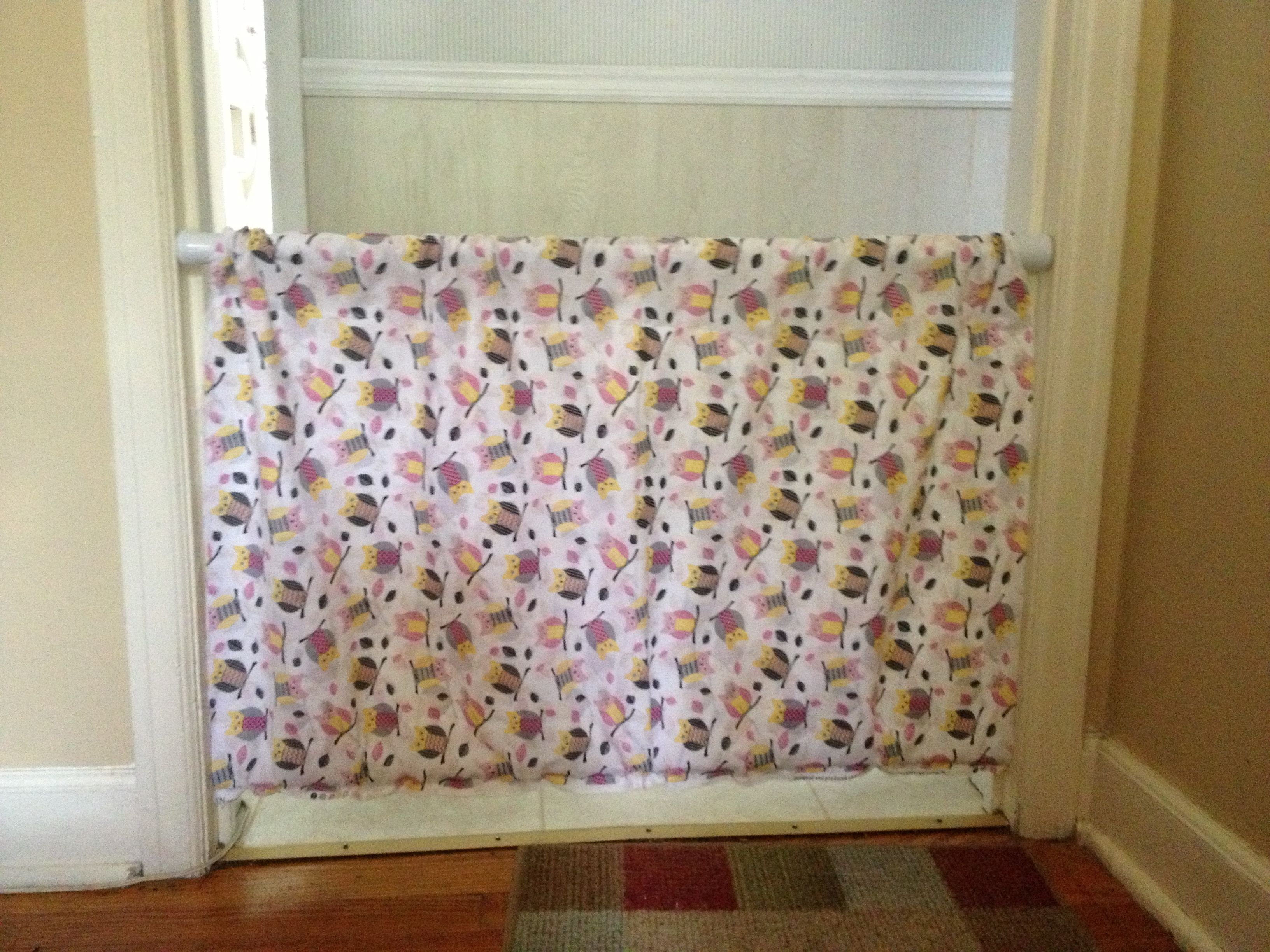 diy baby gate with tension shower curtain rods.   things i have