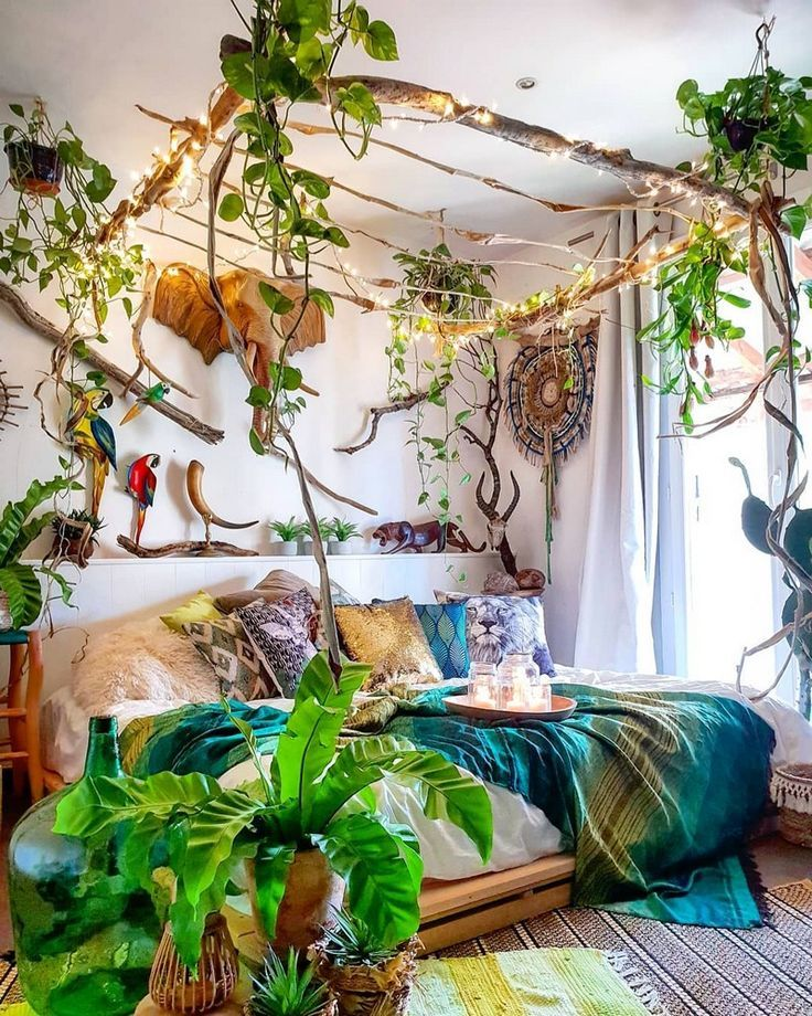 Photo of Suspend something feom the ceiling? Bohemian Bedro om Decor And Bed Design Ideas
