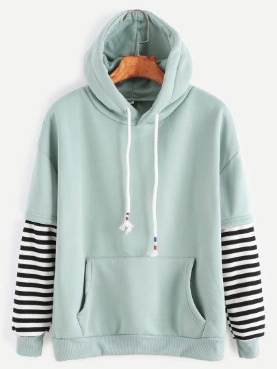 Sweat shirt à capuche manche à rayures cordon avec poche