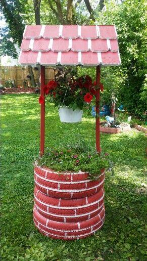 Maceta con llantas plantas en llantas pinterest for Decoracion de jardin con llantas