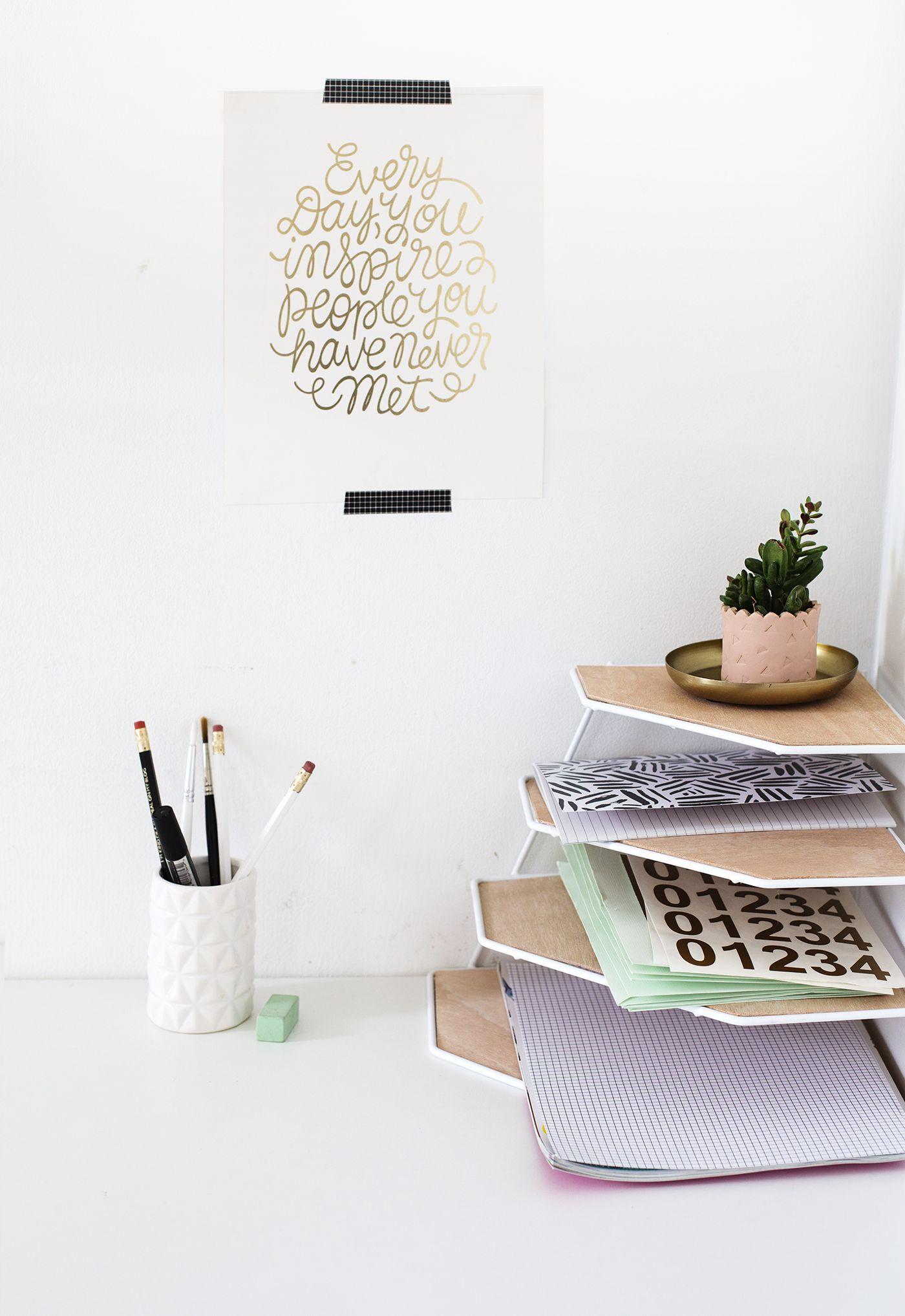Diy balsa wood desk organiser tutorial workspace tidy up for Diy desk decor pinterest