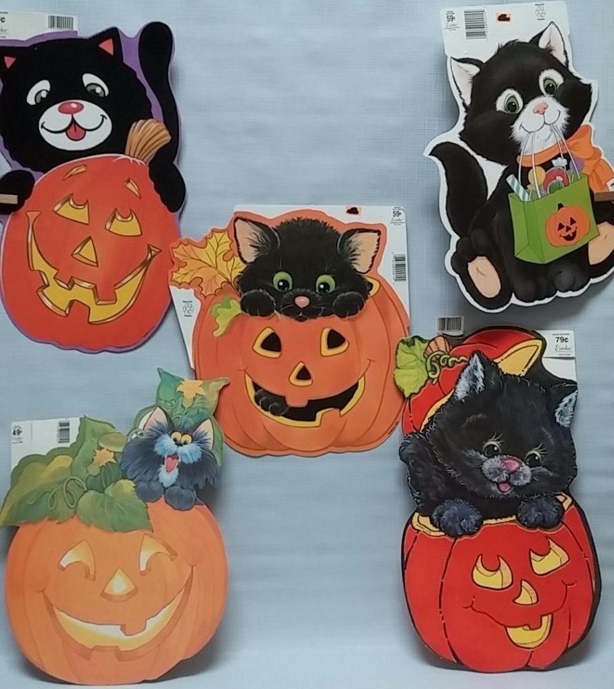 Vintage halloween paper decorations - 5 Vintage Halloween Cat Lot Paper Die Cut Decorations Eureka Diecut Cut Out