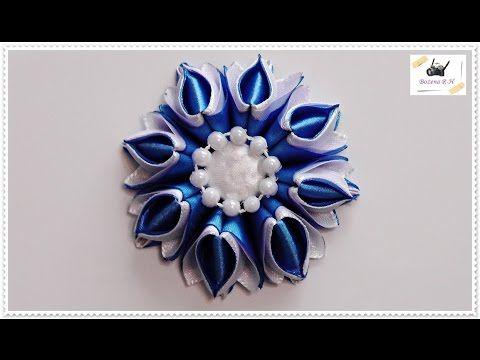 Kwiat Ze Wstazki Kanzashi Sklad Wstazka 5 Cm X 10 Cm 8 Szt Biale 8 Szt Niebieskie Klej Na Goraco Aplikacja Flower Wi Cvetok Bumazhnyj Cvetok Lenta