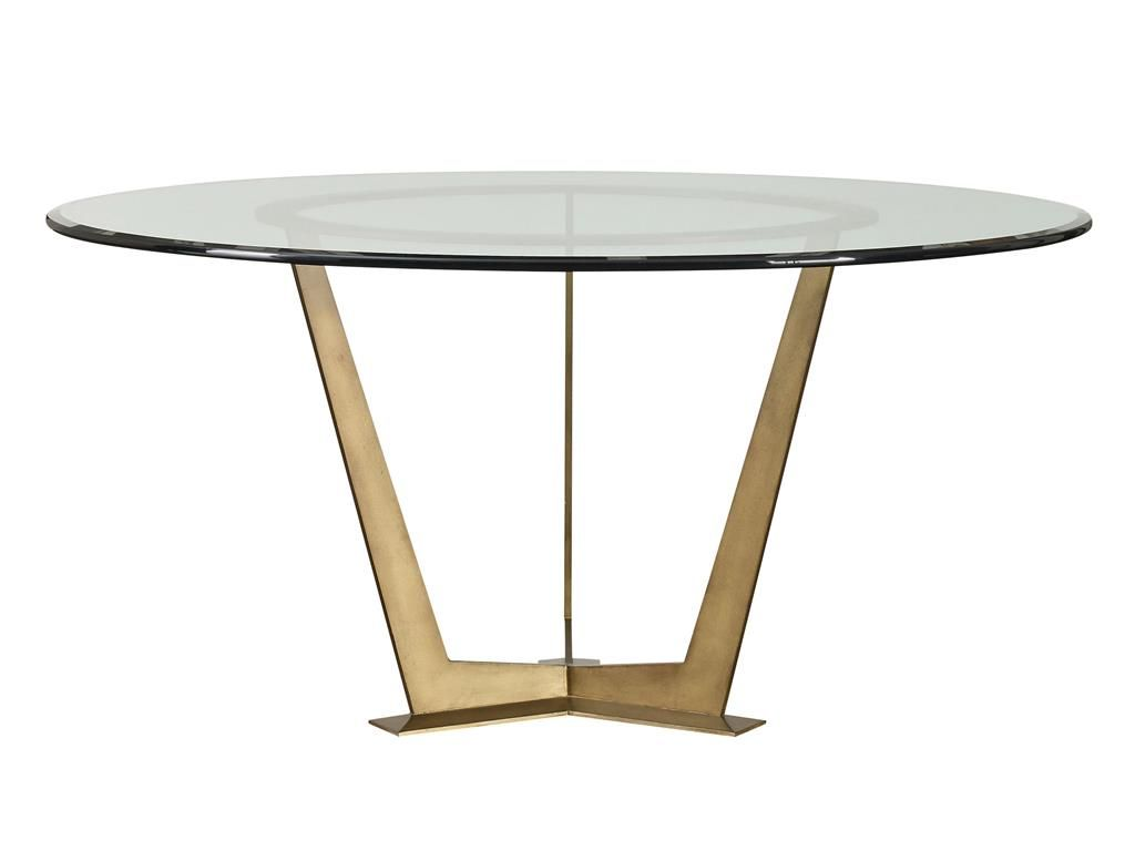 Steel Base Round Table In Bronze With A 54 Diameter Round Glass