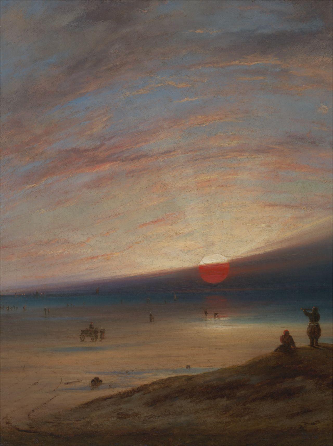 Sunset on the Beach at Sark, ca 1850,  Unknown 19th century Painter. - Oil on Canvas -