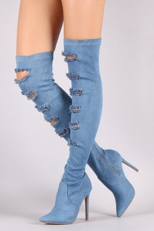 44c14bcb7ee Shoe Republic LA Ripped Denim Stiletto Over-The-Knee Boots | Shoes ...