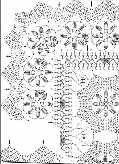 Crochet: hermoso patrón de papel tapiz floral - Maomao - Me muevo ...