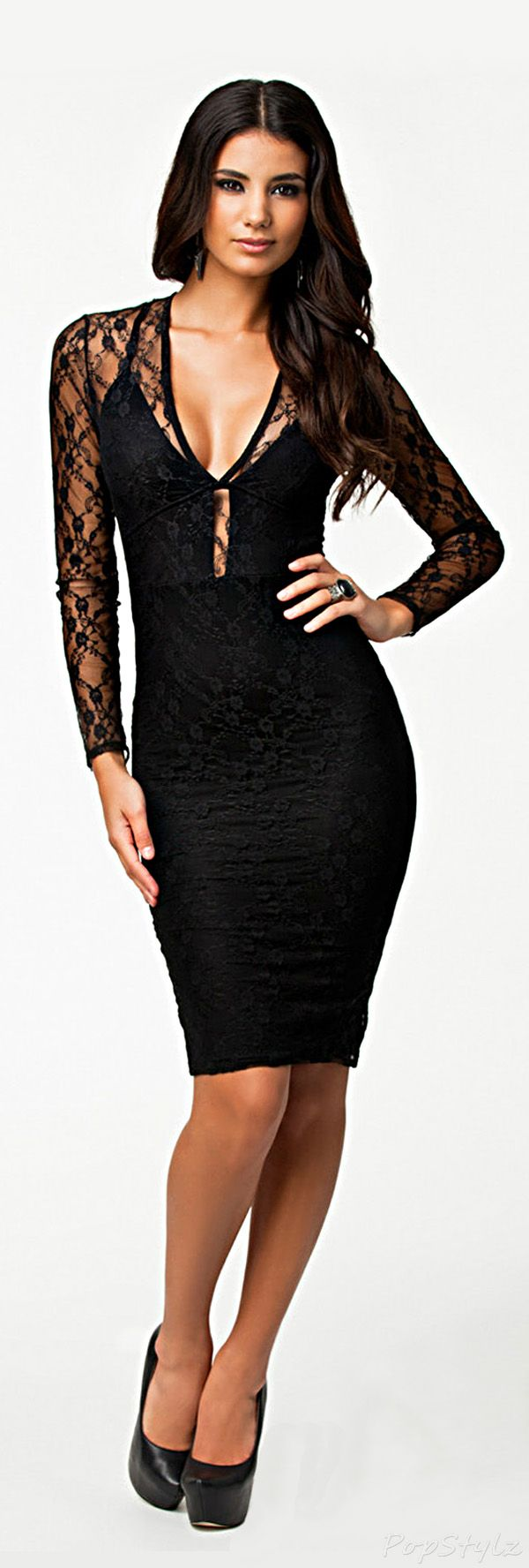 Lace dress open back  Allover Lace Open Back Dress  BeautyFashion  Pinterest  Black