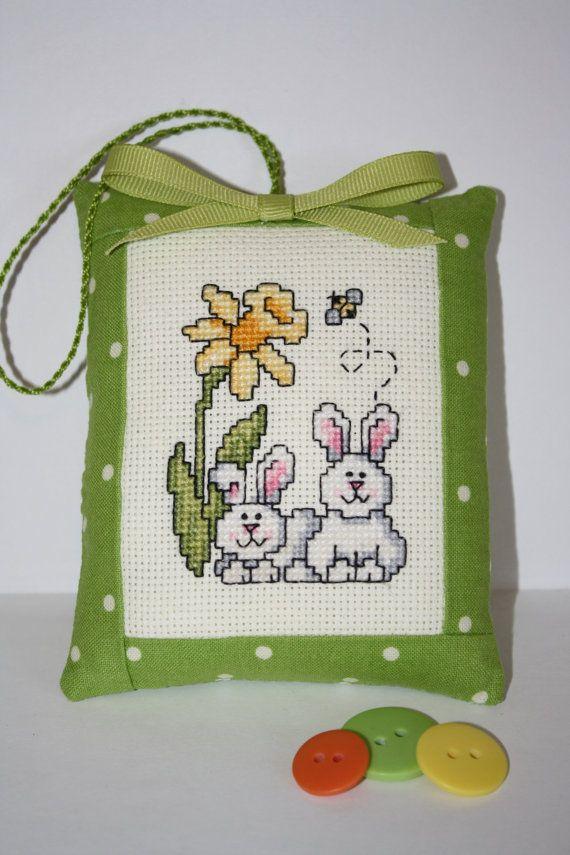 Spring Bunnies Cross stitch Handmade by RainbowFelt on Etsy, $16.80