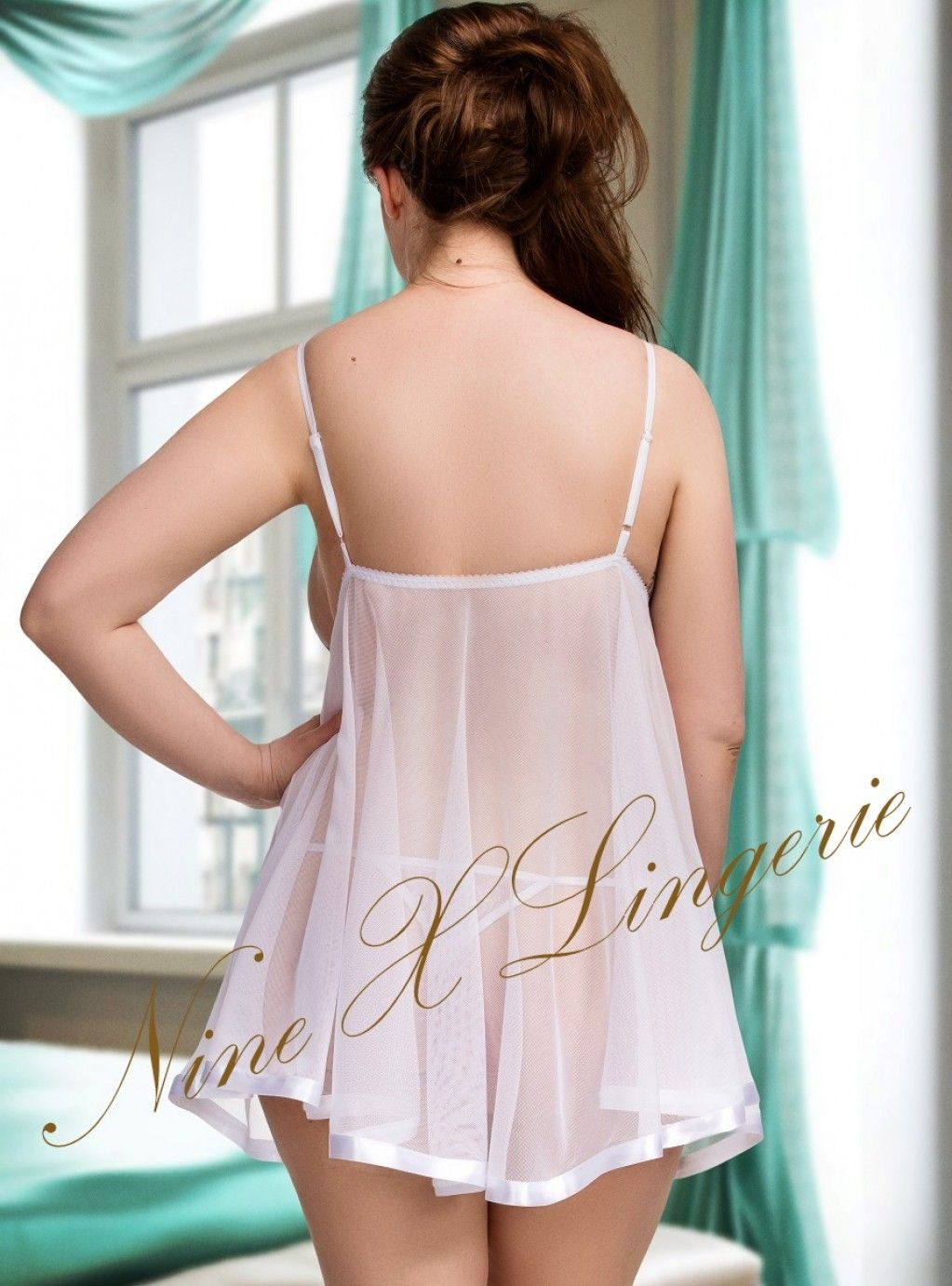 57bed85b87d 005 Glamorous Sheer Babydoll With Lace Bust Black M-6XL