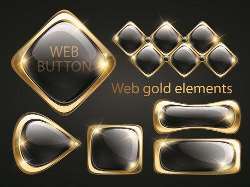 Golden glow Web Buttons elements vector 02