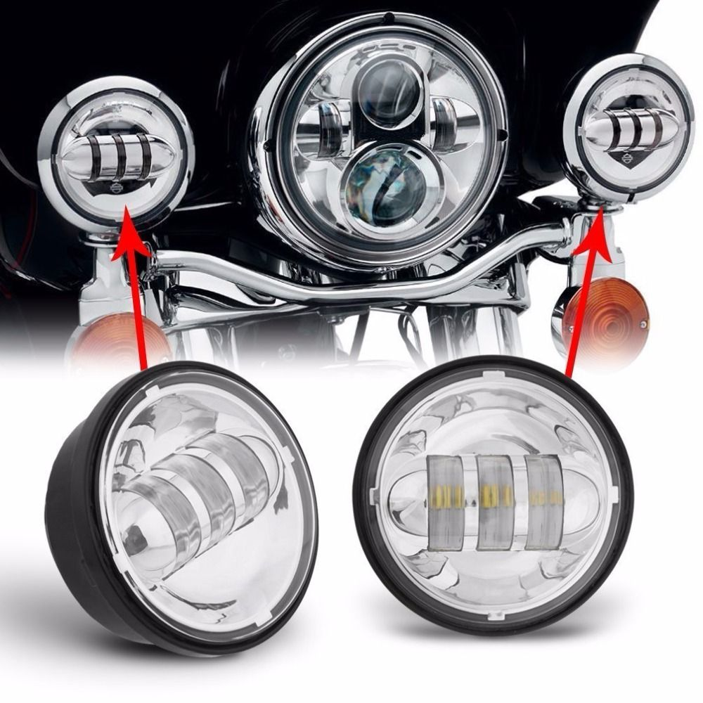 Round 4 5 Inch Led Headlights Fits Harley Motorcycle 4 1 2 Led