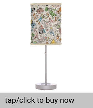 Toy Story 4 Retro Character Toss Pattern Table Lamp Zazzle Com Toy Story Lamp Retro