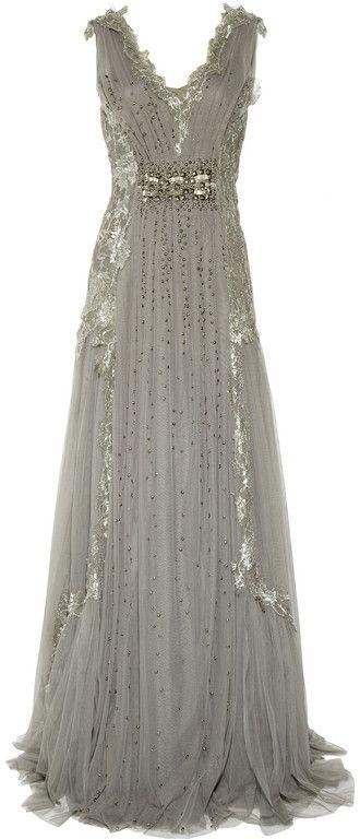 Alberta Ferretti  Embroidered Tulle Gown