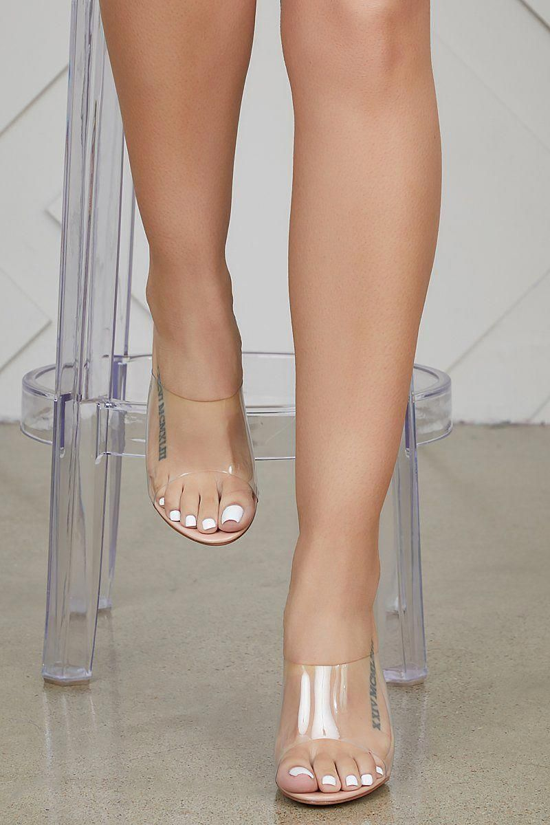 Fusion clear mules heels clear strap heels clear block