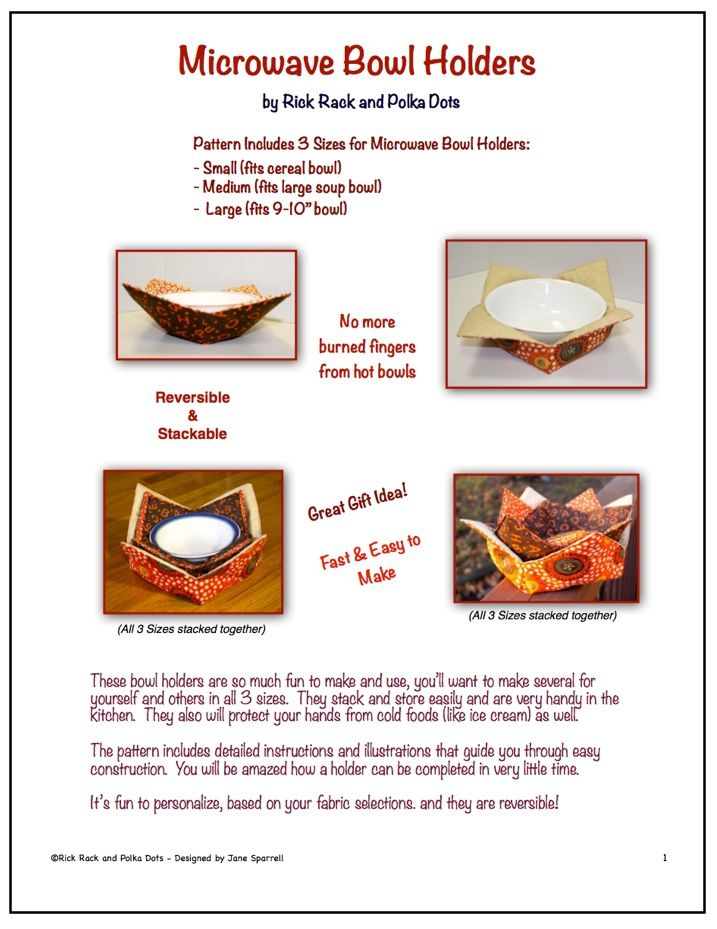 Fabric Microwave Bowl Holder Pattern For Holders
