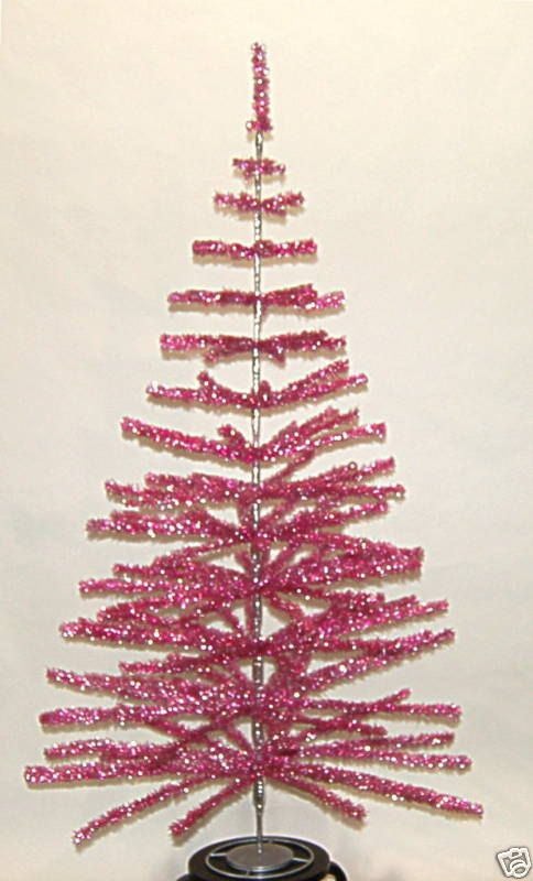 6 Retro Look Pink Tinsel Christmas Tree Feather
