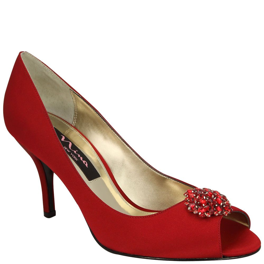 Nina Fiery | Red Rouge Luster Satin Head Over Heels, Its All In The Details, Bejeweled, Shoes, Pumps, Scarlet Fever | Nina Shoes