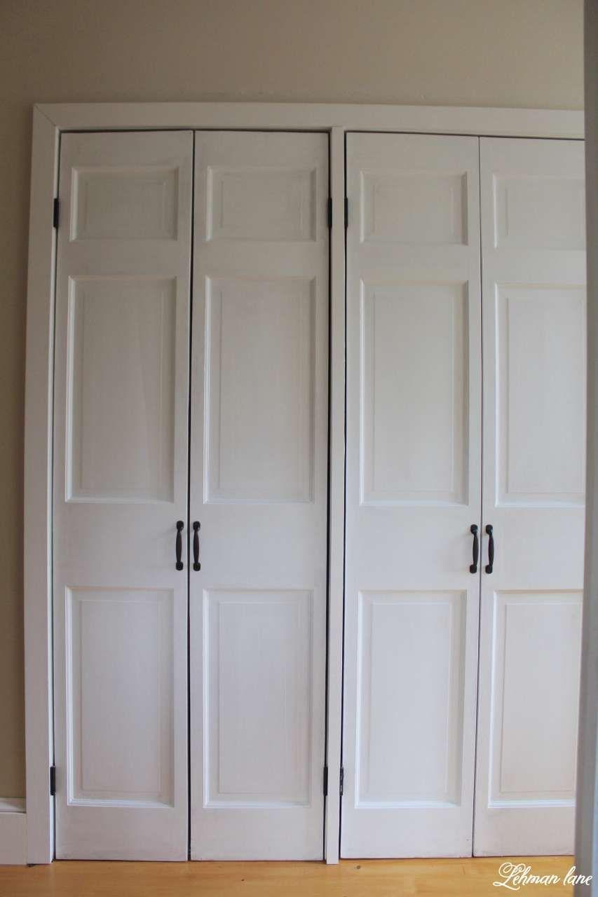 Diy Closet Door Makeover Bi Fold To Hinged Diy Closet Doors Closet Door Makeover Bifold Doors Makeover