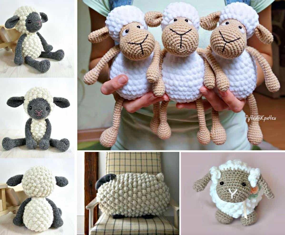 Knitted Sheep Pillow Pattern Free Bobble Stitch Tutorial | Crochet ...