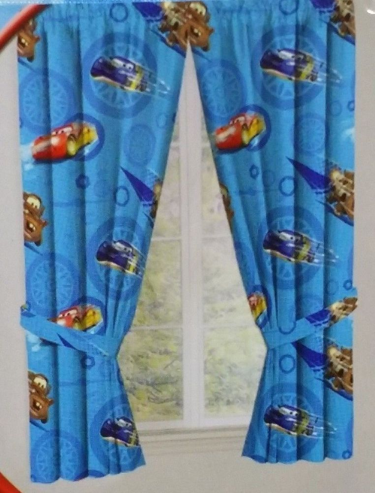 Disney Boys Cars Blue Curtain Panel Set 42x63 Lightning McQueen Mater