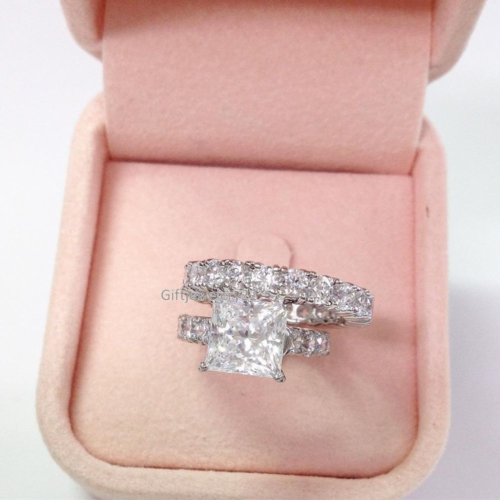 14K White Gold Princess 1.50 CT Diamond Engagement Ring Wedding Band ...