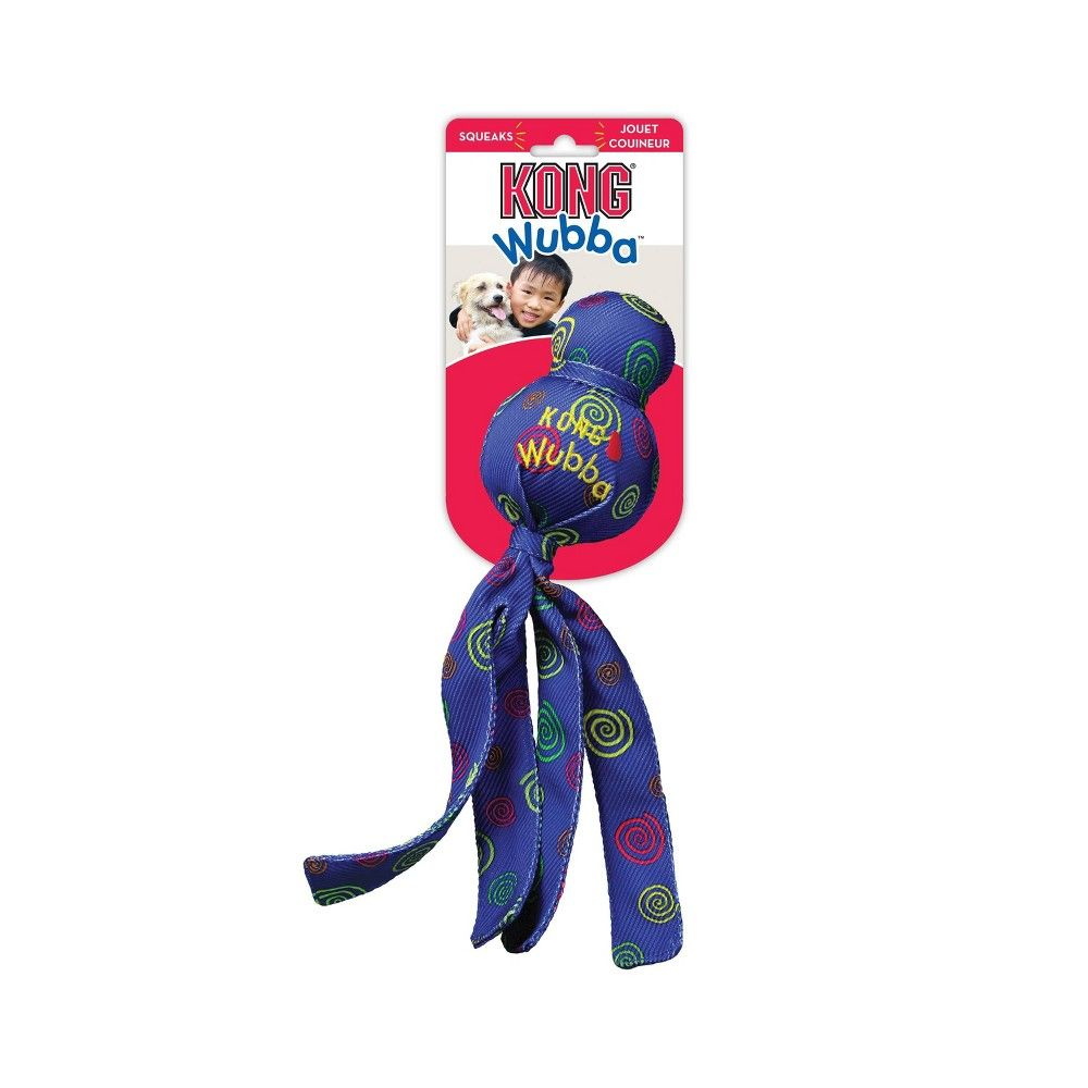 Kong Wubba Toss Fetch Dog Toy Blue L Dog Toys Interactive