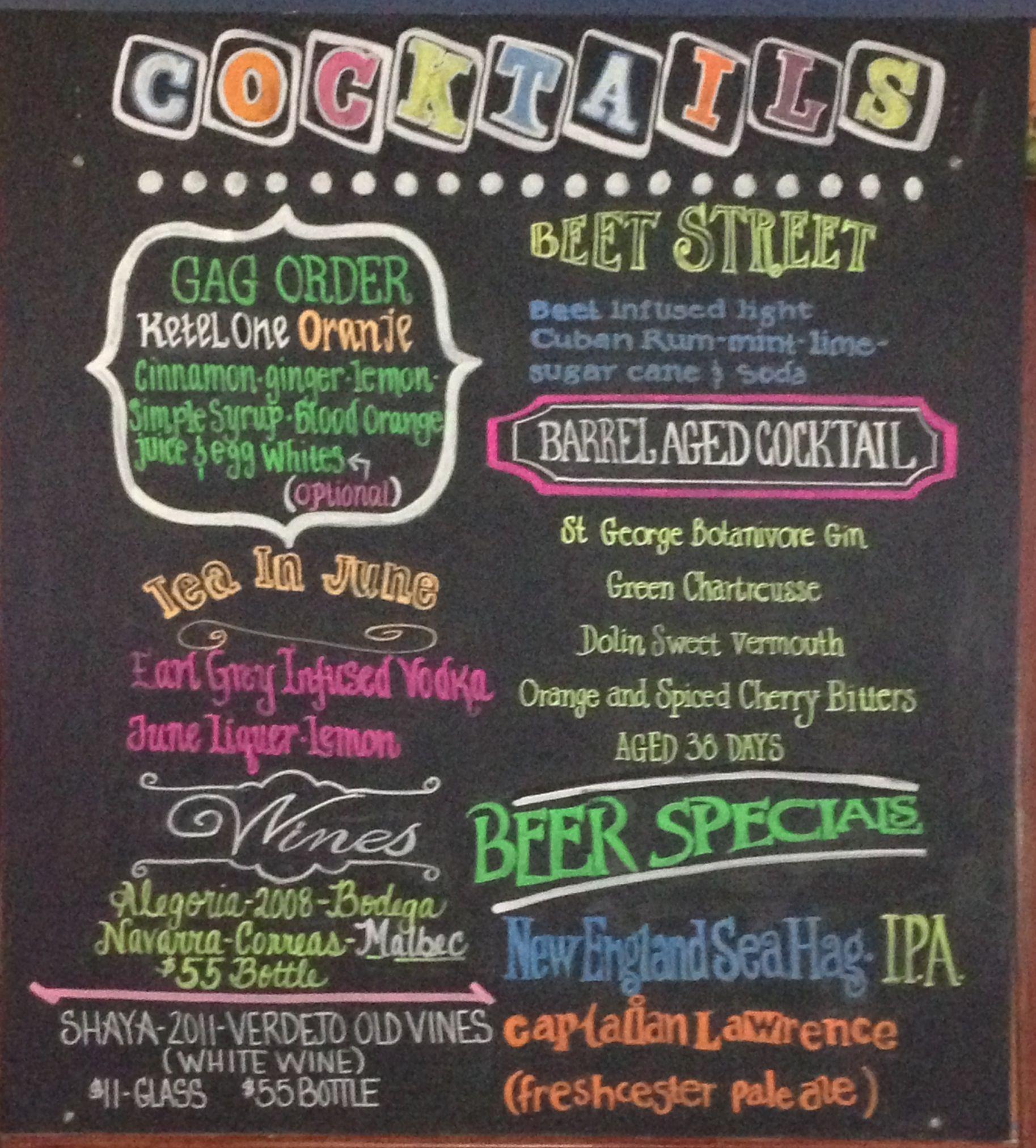 valencia chalkboard art cocktails
