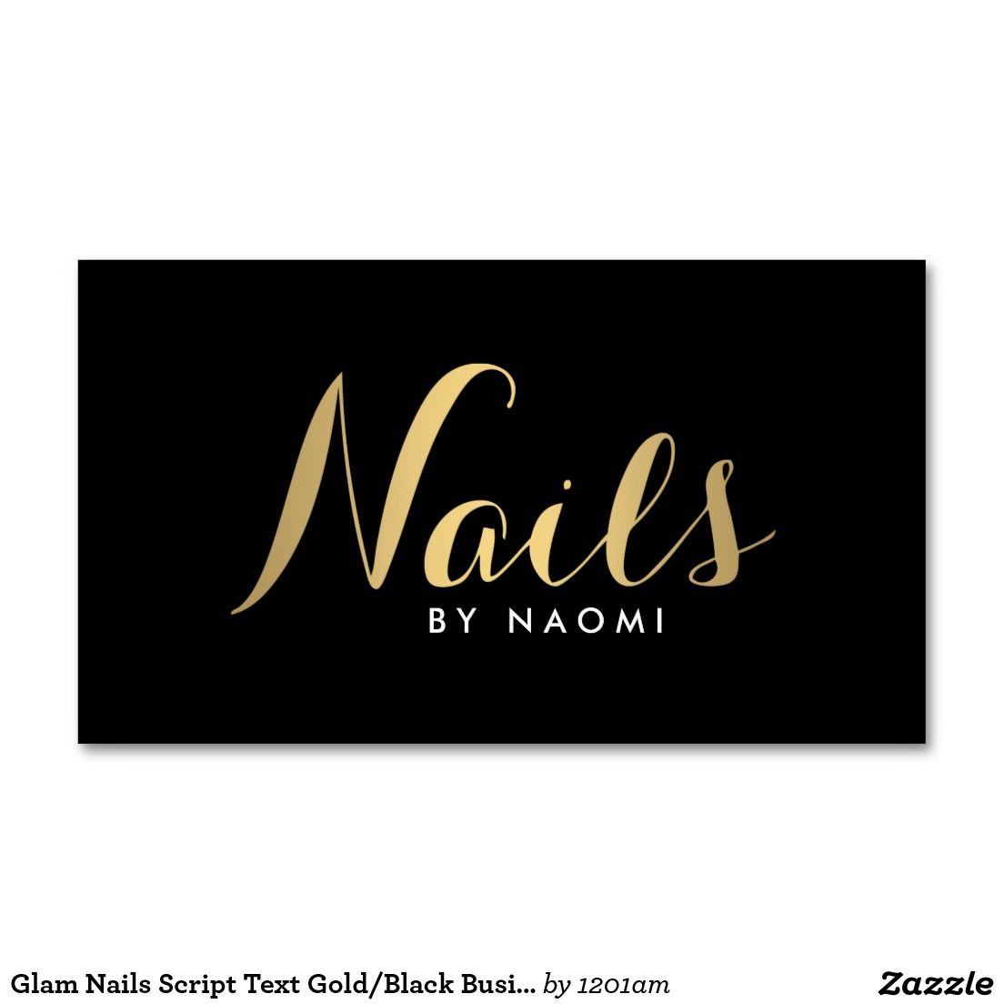 Glam Nails Script Text Gold/Black Business Card | Nail technician ...