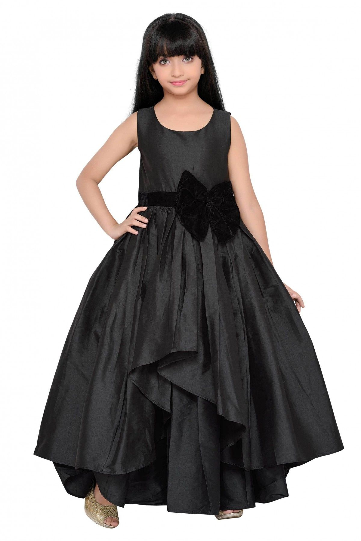 Taffeta Party Wear Gown In Black Colour Gowns for girls