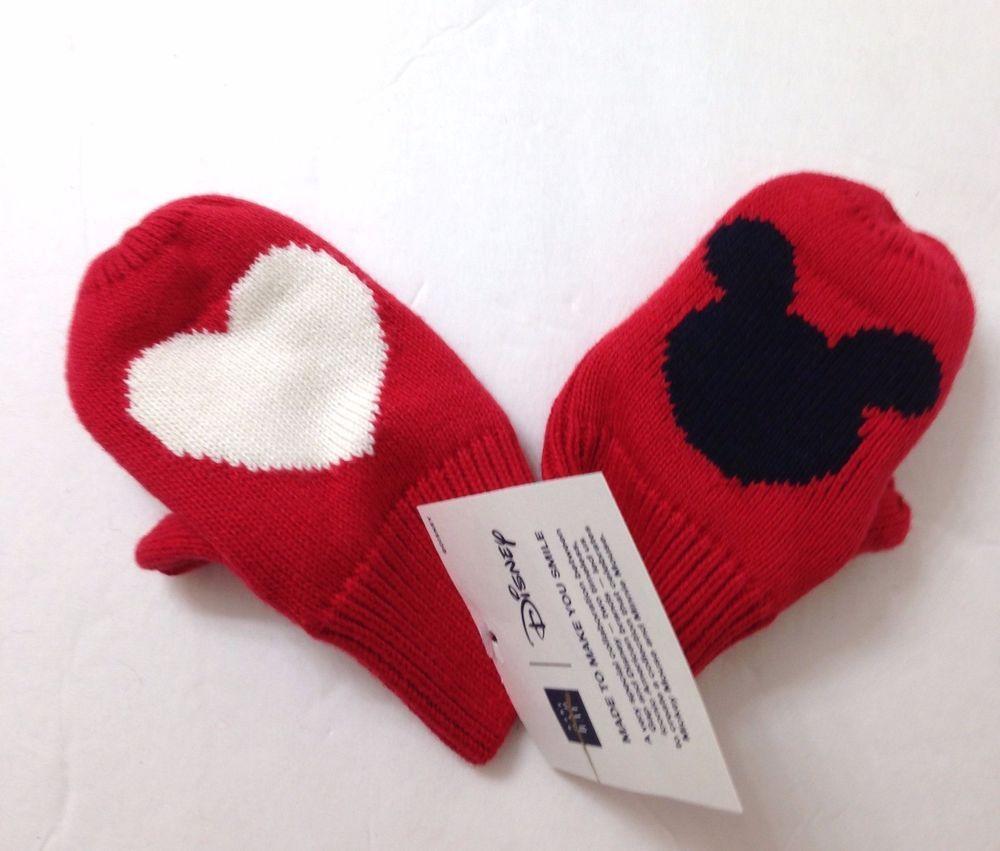 86c5432db34 Baby Gap XS S (11cm 12-24mo) MICKEY MOUSE HEART LOVE MITTENS Winter Knit  Glove  Gap