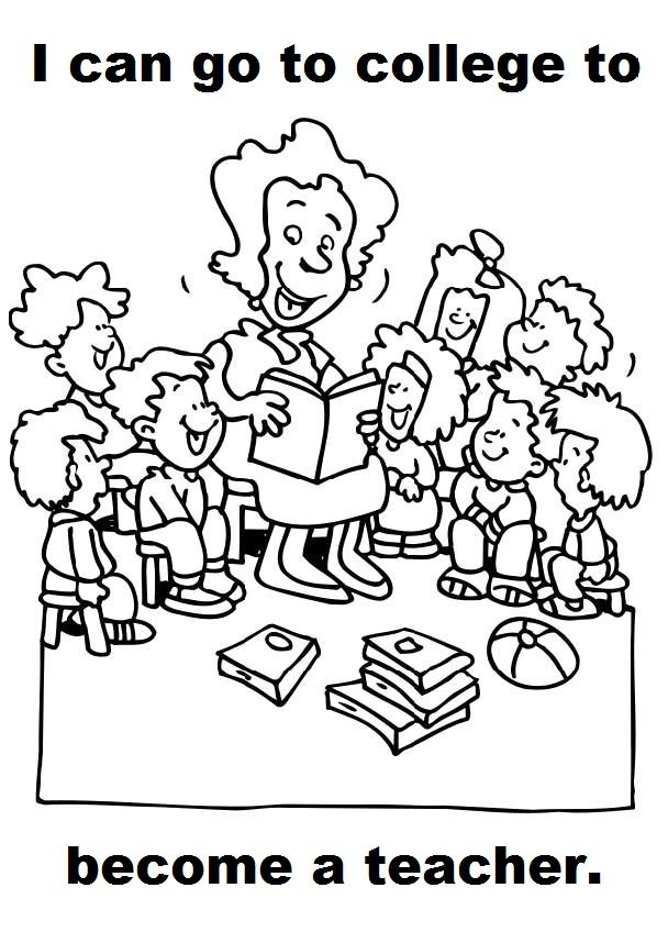 Teachers And Kids Coloring For