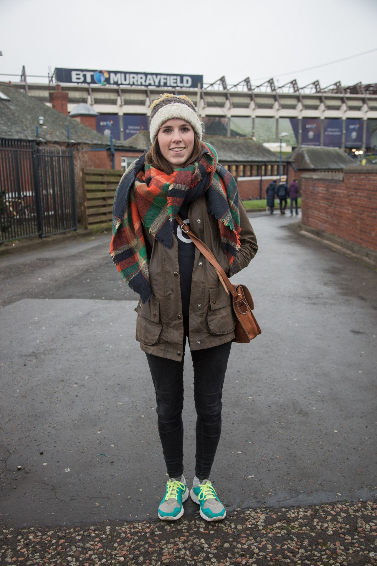 bd157ec16e4a1 Joanna wrapped up in her classic Barbour Beadnell waxed jacket for a cold  day in Edinburgh for the Scotland vs England Six Nations rugby match.