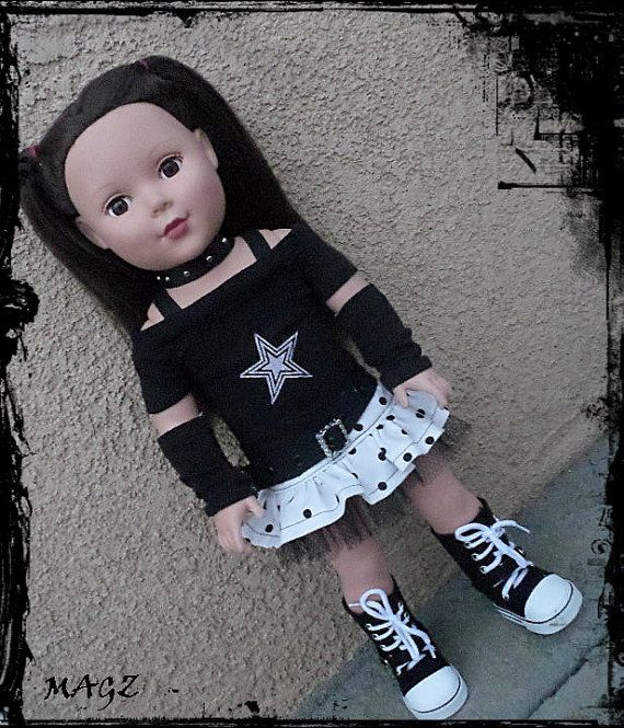 American girl lil punk rock outfit 18 inch by MagzRockingStyle