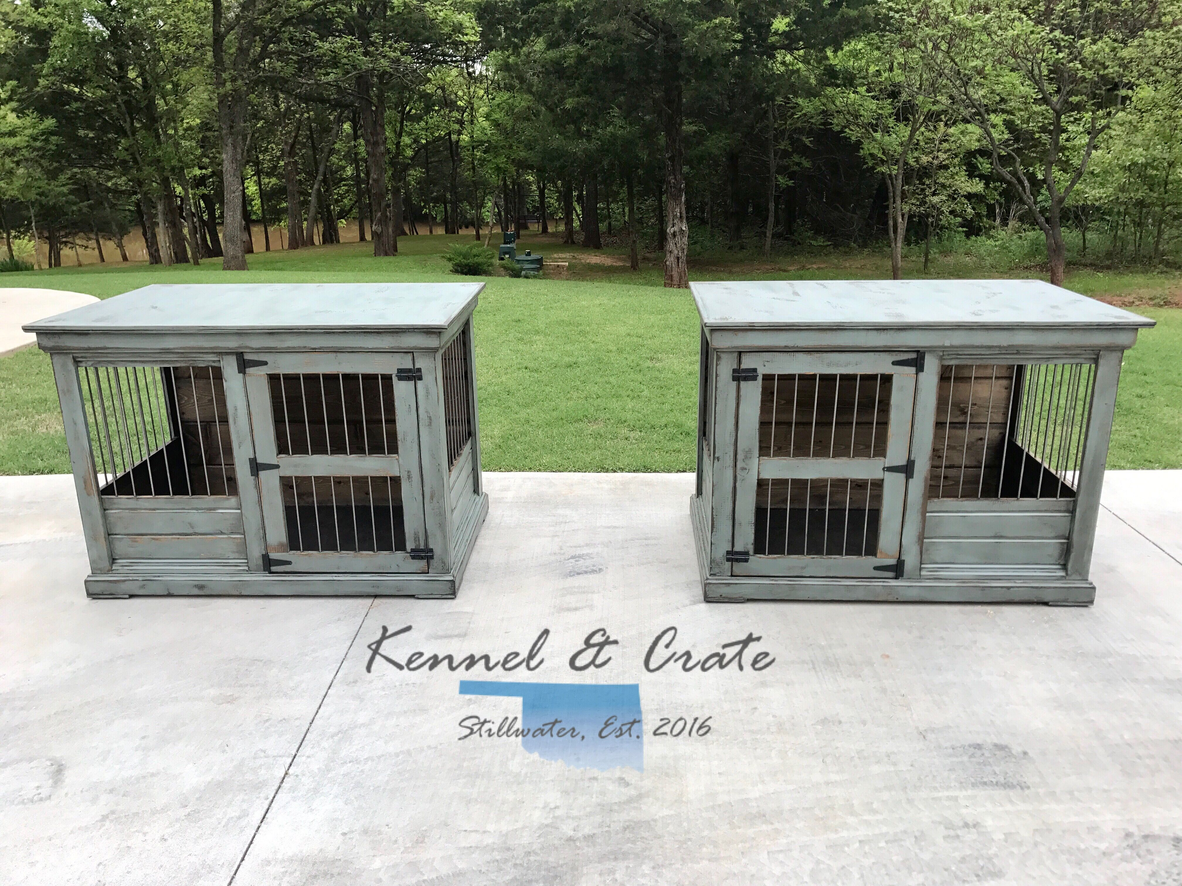 Talk About Desk Goals This Farm House Style Dog Kennel Is Created By Two Extra Large Single Kennels With A Workspace I Dog Kennel Luxury Dog Kennels Dog Crate