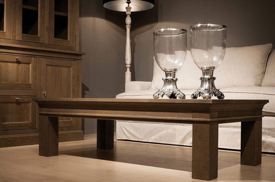 Landelijke eiken salontafel 100 hout in de woonkamer for Landelijke kleuren interieur