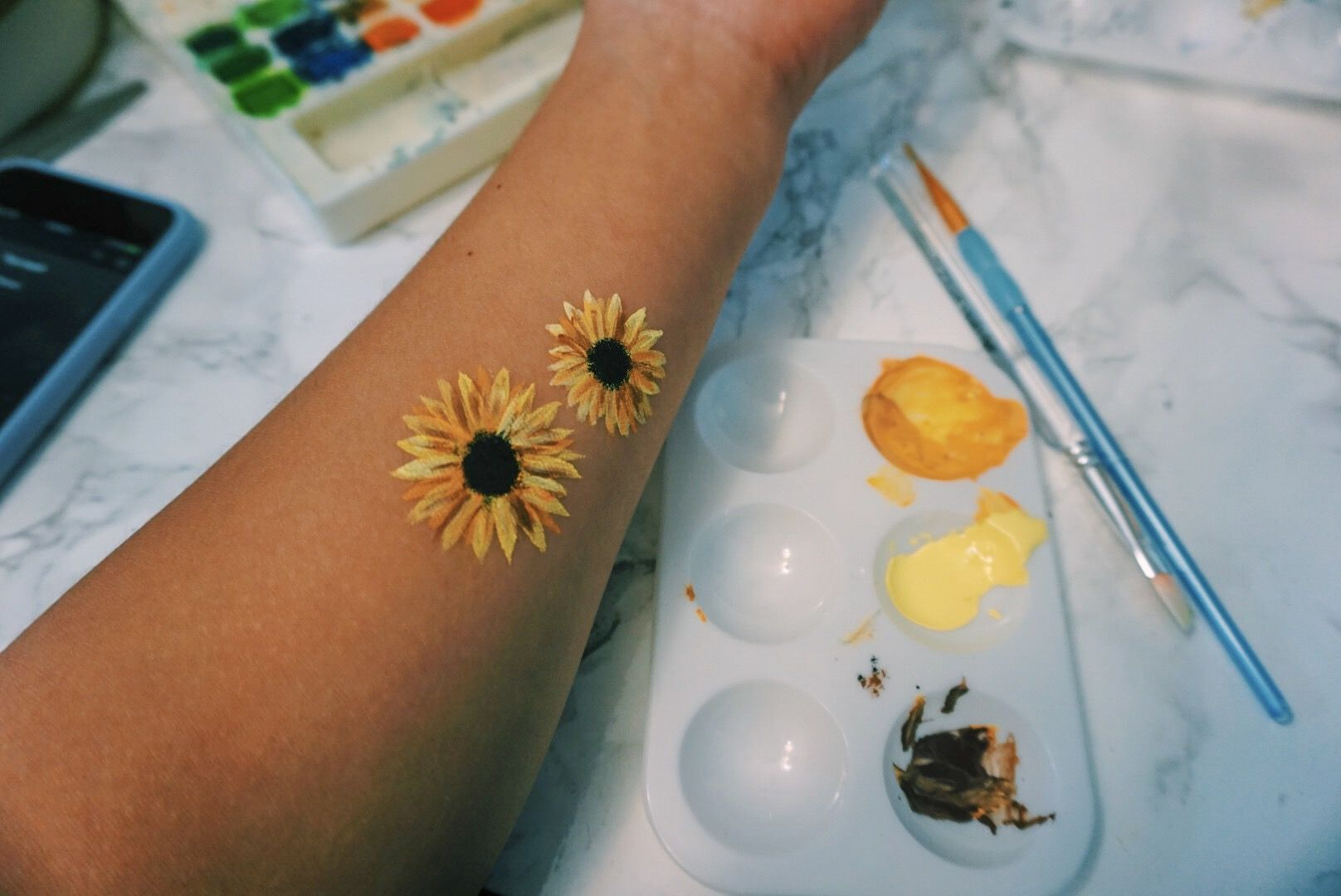 Sunflowers Flowers Yellow Yellowaesthetic Aesthetic Mood Painting Paint
