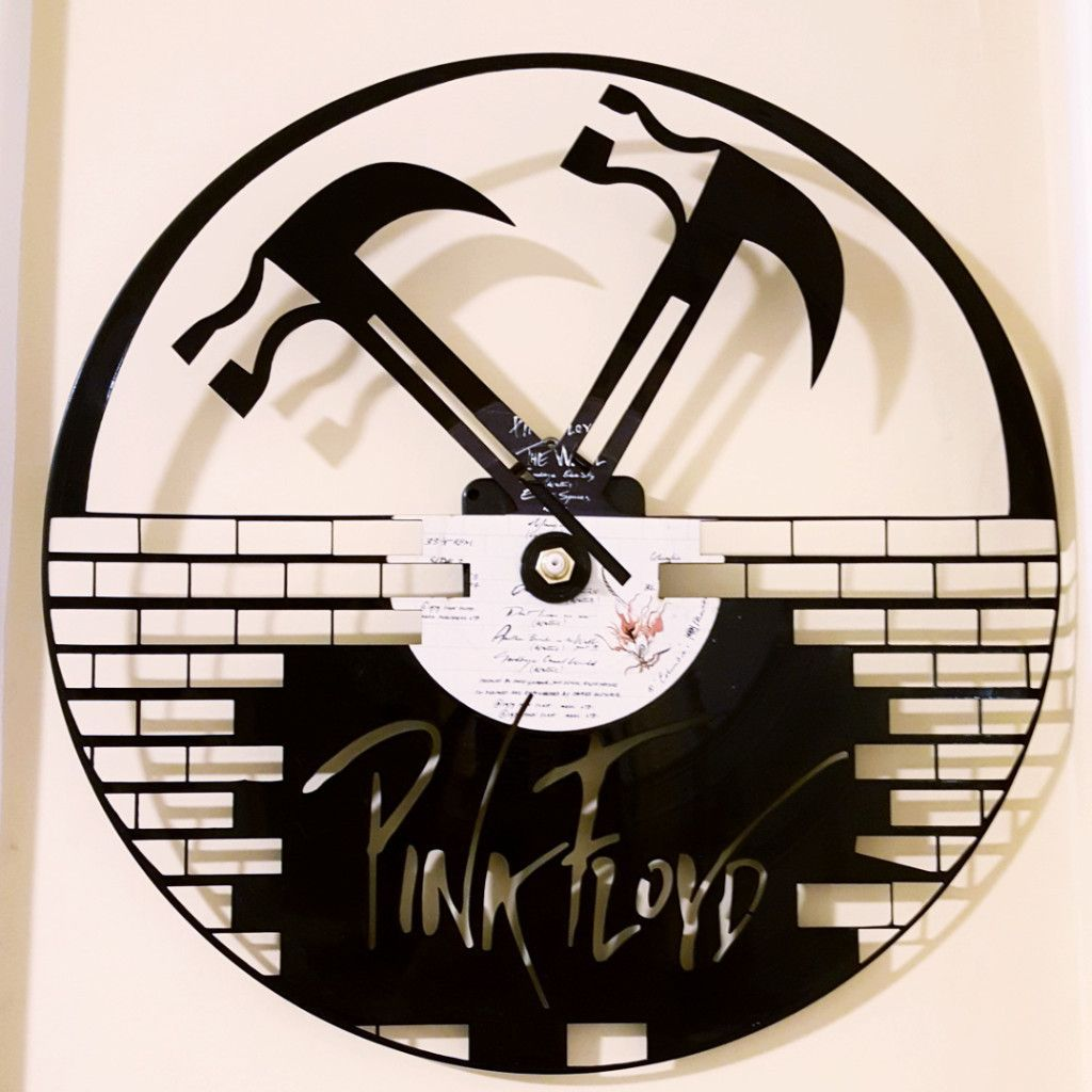 Pink Floyd Vinyl record, handmade, clock with working hands