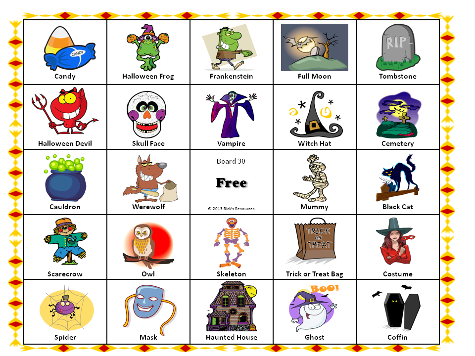 a halloween party game for kids and adults which is a variation of traditional bingo game - Names For A Halloween Party