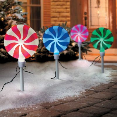 Peppermint Christmas Pathway Lights-Set of 4 | Outdoor Christmas ...