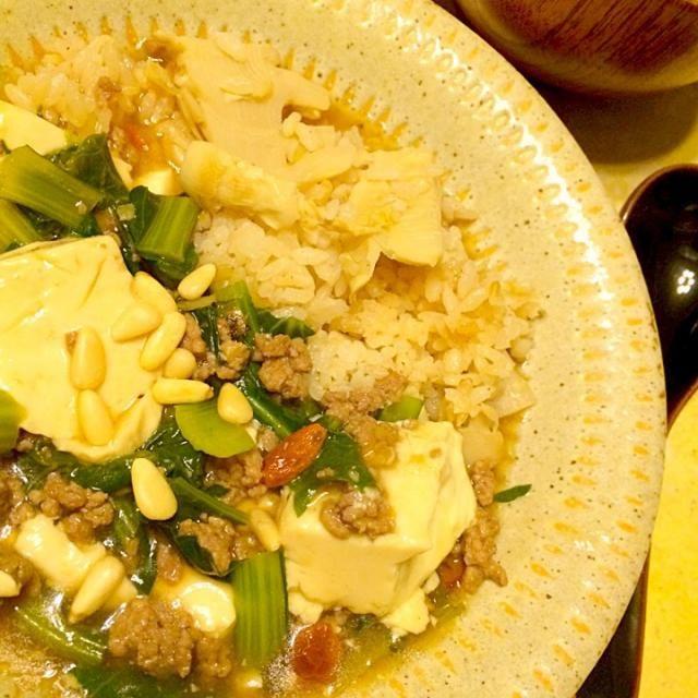小松菜をたっぷり使って、こんな食べ方もありでしょ^_−☆ - 44件のもぐもぐ - 筍ごはんの豆腐あんかけ by MIEKO 沼澤三永子