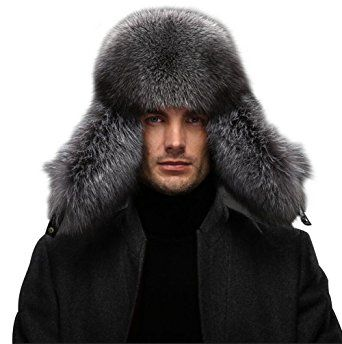b7718bd9b6fc6 QUEENFUR Men s Fur Hat – Winter Real Raccoon Fur Cap Fox Fur Genuine  Leather Russia Aviator Hats Review